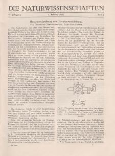 Die Naturwissenschaften. Wochenschrift..., 17. Jg. 1929, 1. Februar, Heft 5.