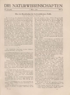 Die Naturwissenschaften. Wochenschrift..., 17. Jg. 1929, 1. März, Heft 9.
