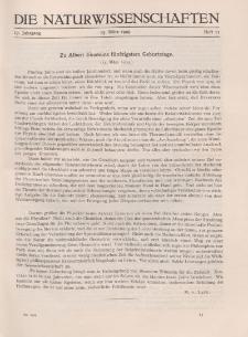 Die Naturwissenschaften. Wochenschrift..., 17. Jg. 1929, 15. März, Heft 11.