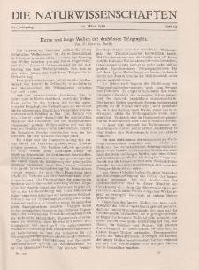 Die Naturwissenschaften. Wochenschrift..., 17. Jg. 1929, 29. März, Heft 13.