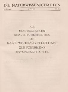 Die Naturwissenschaften. Wochenschrift..., 17. Jg. 1929, 3. Mai, Heft 18/19.