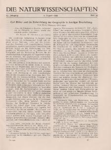 Die Naturwissenschaften. Wochenschrift..., 17. Jg. 1929, 9. August, Heft 32.