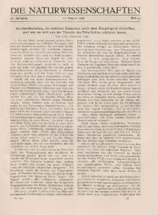 Die Naturwissenschaften. Wochenschrift..., 17. Jg. 1929, 16. August, Heft 33.