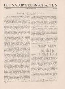 Die Naturwissenschaften. Wochenschrift..., 17. Jg. 1929, 27. September, Heft 39.