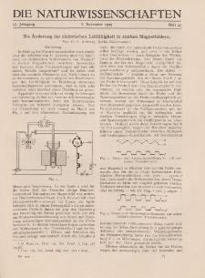 Die Naturwissenschaften. Wochenschrift..., 17. Jg. 1929, 8. November, Heft 45.