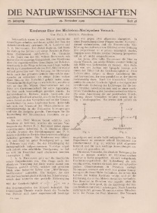Die Naturwissenschaften. Wochenschrift..., 17. Jg. 1929, 29. November, Heft 48.