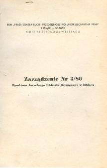 Zarządzenie Nr 3/80 Dyrektora Naczelnego Oddziału Rejonowego w Elblągu z Dnia 10 Maja 1980 Roku w Sprawie Wprowadzenia w Życie Instrukcji Obiegu Dokumentów - biuletyn
