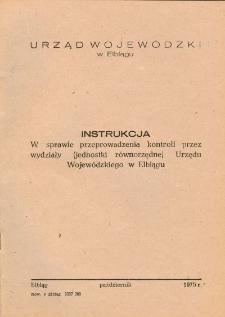 Instrukcja w sprawie przeprowadzenia kontroli przez wydziały (jednostki równorzędne) Urzędu Wojewódzkiego w Elblągu - broszura