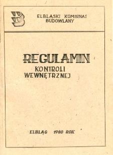 Regulamin kontroli wewnętrznej (Elbląski Kombinat Budowlany) - broszura