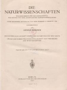 Die Naturwissenschaften. Wochenschrift (Inhaltsverzeichnis, Sachregister, Autorenregister), 1927