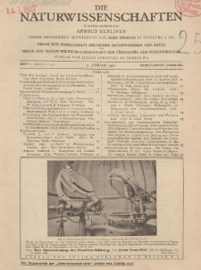 Die Naturwissenschaften. Wochenschrift..., 15. Jg. 1927, 7. Januar, Heft 1.