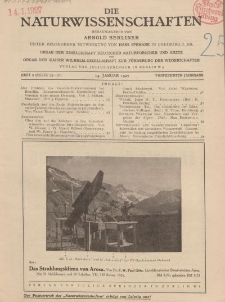 Die Naturwissenschaften. Wochenschrift..., 15. Jg. 1927, 14. Januar, Heft 2.