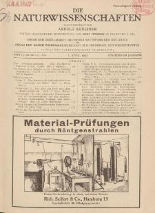 Die Naturwissenschaften. Wochenschrift..., 15. Jg. 1927, 1. April, Heft 13.