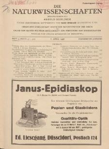 Die Naturwissenschaften. Wochenschrift..., 15. Jg. 1927, 8. April, Heft 14.