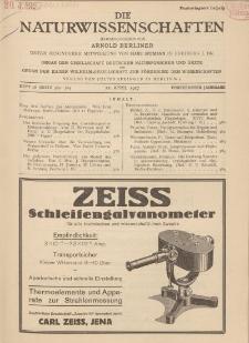 Die Naturwissenschaften. Wochenschrift..., 15. Jg. 1927, 22. April, Heft 16.