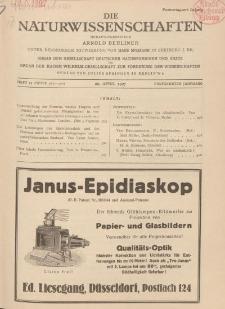 Die Naturwissenschaften. Wochenschrift..., 15. Jg. 1927, 29. April, Heft 17.
