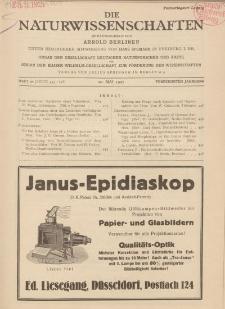 Die Naturwissenschaften. Wochenschrift..., 15. Jg. 1927, 20. Mai, Heft 20.