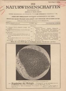 Die Naturwissenschaften. Wochenschrift..., 15. Jg. 1927, 8. Juli, Heft 27.