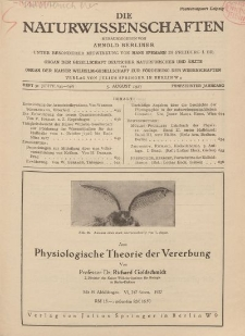 Die Naturwissenschaften. Wochenschrift..., 15. Jg. 1927, 5. August, Heft 31.