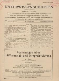 Die Naturwissenschaften. Wochenschrift..., 15. Jg. 1927, 19. August, Heft 33.