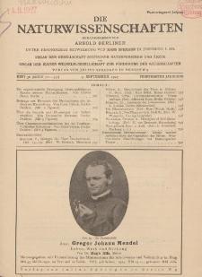 Die Naturwissenschaften. Wochenschrift..., 15. Jg. 1927, 9. September, Heft 36.