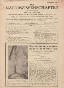 Die Naturwissenschaften. Wochenschrift..., 15. Jg. 1927, 23. September, Heft 38.