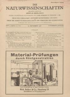 Die Naturwissenschaften. Wochenschrift..., 15. Jg. 1927, 30. September, Heft 39.