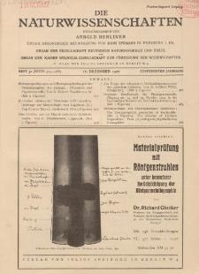 Die Naturwissenschaften. Wochenschrift..., 15. Jg. 1927, 16. Dezember, Heft 50.
