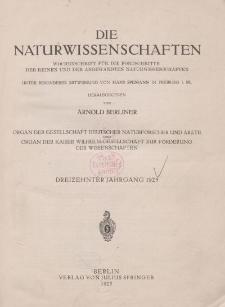 Die Naturwissenschaften. Wochenschrift (Inhaltsverzeichnis, Sachregister, Autorenregister), 1925