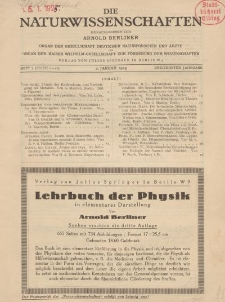 Die Naturwissenschaften. Wochenschrift..., 13. Jg. 1925, 2. Januar, Heft 1.