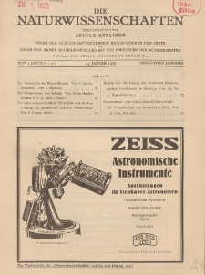 Die Naturwissenschaften. Wochenschrift..., 13. Jg. 1925, 23. Januar, Heft 4.