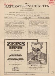 Die Naturwissenschaften. Wochenschrift..., 13. Jg. 1925, 17. April, Heft 16.