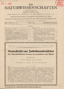 Die Naturwissenschaften. Wochenschrift..., 13. Jg. 1925, 22. Mai, Heft 21.