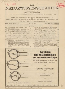 Die Naturwissenschaften. Wochenschrift..., 13. Jg. 1925, 29. Mai, Heft 22.
