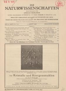 Die Naturwissenschaften. Wochenschrift..., 13. Jg. 1925, 7. August, Heft 32.