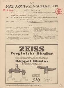 Die Naturwissenschaften. Wochenschrift..., 13. Jg. 1925, 21. August, Heft 34.