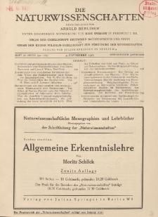Die Naturwissenschaften. Wochenschrift..., 13. Jg. 1925, 4. September, Heft 36.