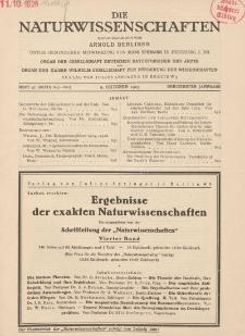 Die Naturwissenschaften. Wochenschrift..., 13. Jg. 1925, 9. Oktober, Heft 41.