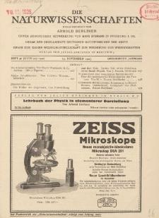 Die Naturwissenschaften. Wochenschrift..., 13. Jg. 1925, 13. November, Heft 46.