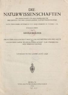 Die Naturwissenschaften. Wochenschrift (Inhaltsverzeichnis, Sachregister, Autorenregister), 1926