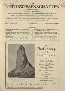 Die Naturwissenschaften. Wochenschrift..., 14. Jg. 1926, 1. Januar, Heft 1.