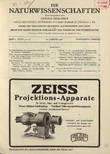 Die Naturwissenschaften. Wochenschrift..., 14. Jg. 1926, 22. Januar, Heft 4.