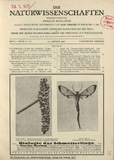 Die Naturwissenschaften. Wochenschrift..., 14. Jg. 1926, 29. Januar, Heft 5.