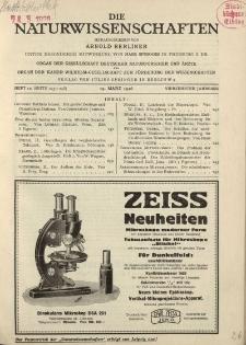 Die Naturwissenschaften. Wochenschrift..., 14. Jg. 1926, 19. März, Heft 12.