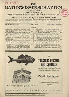 Die Naturwissenschaften. Wochenschrift..., 14. Jg. 1926, 2. April, Heft 14.