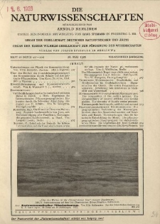 Die Naturwissenschaften. Wochenschrift..., 14. Jg. 1926, 28. Mai, Heft 22.
