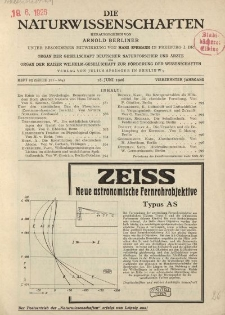 Die Naturwissenschaften. Wochenschrift..., 14. Jg. 1926, 18. Juni, Heft 25.