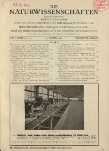 Die Naturwissenschaften. Wochenschrift..., 14. Jg. 1926, 13. August, Heft 33.