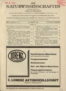Die Naturwissenschaften. Wochenschrift..., 14. Jg. 1926, 20. August, Heft 34.