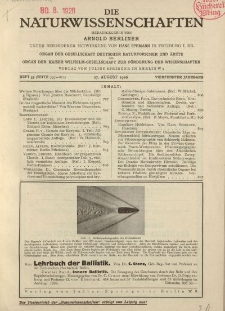 Die Naturwissenschaften. Wochenschrift..., 14. Jg. 1926, 27. August, Heft 35.